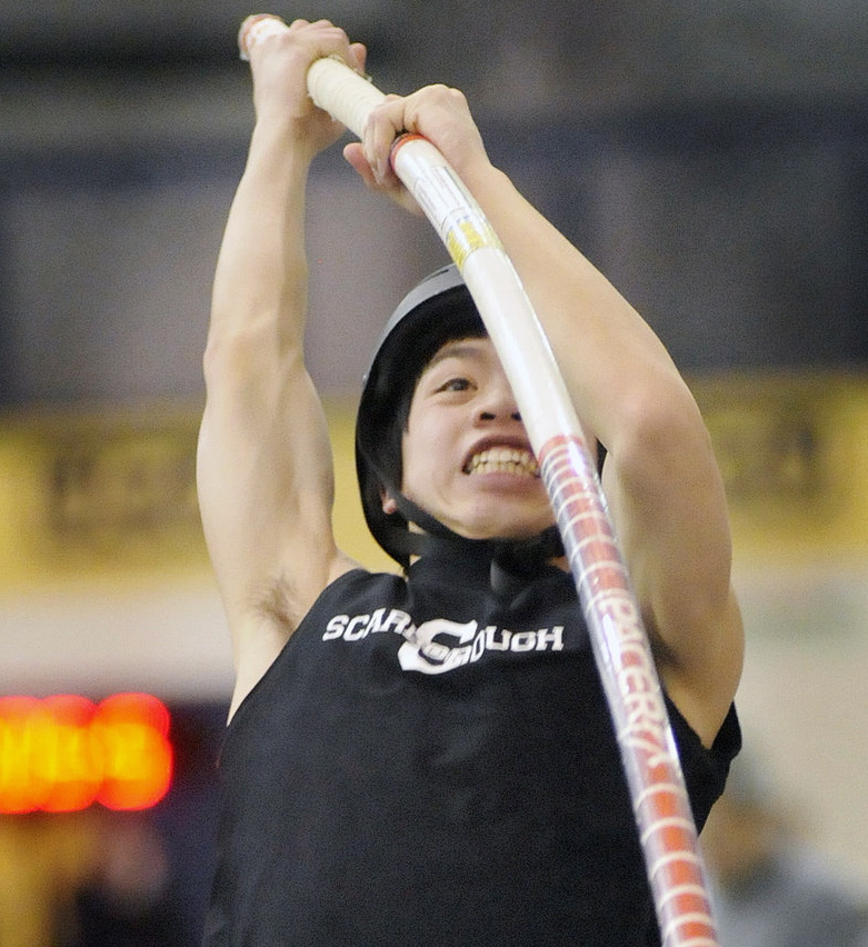 Alec James heads to the top, winning the Class A pole vault in 12 feet, 6 inches, and helping Scarborough win the state title.