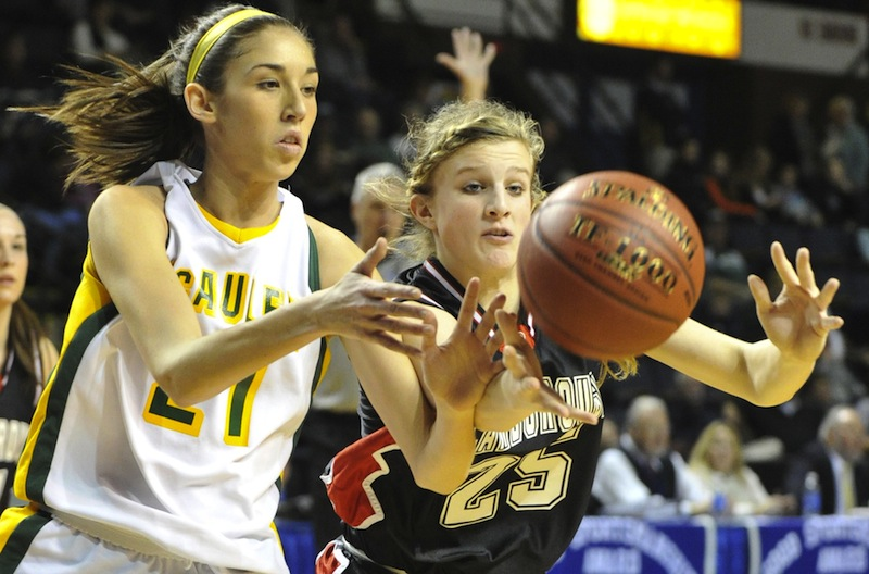 McAuley's Alexa Coulombe (left) was one of three finalists named Friday, March 2 for Maine's Ms. Basketball.