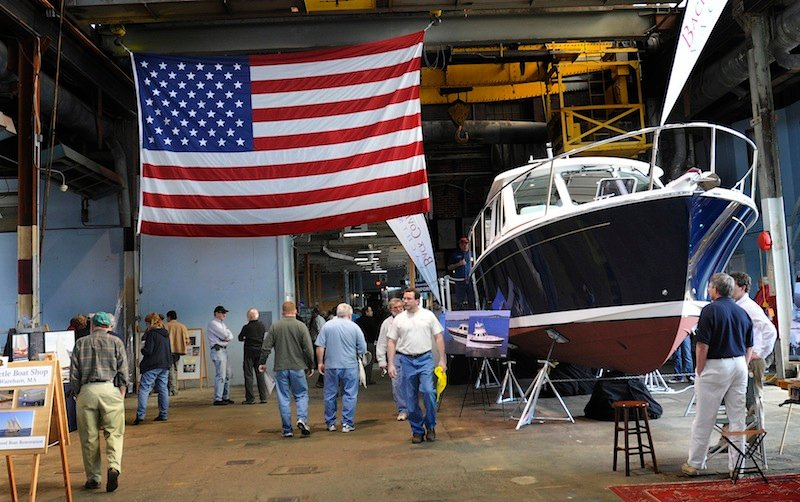A crowd walks through the Portland Company Complex during the Maine Boatbuilders Show on Sunday, March 18, 2012.