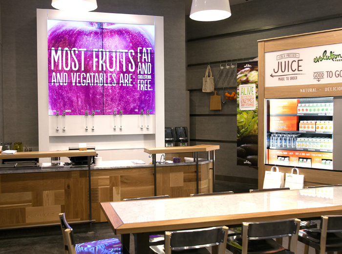 Aside from juices, Starbucks says Evolution Fresh shops will have wraps, soups, salads, vegetarian and vegan options and other offerings.