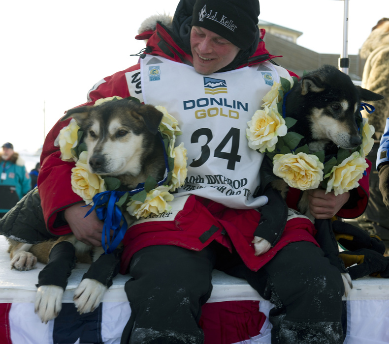 Dallas Seavey holds his leaders, Diesel, left, and Guiness after he arrived at the finish line to claim victory in the Iditarod Trail Sled Dog Race in Nome, Alaska, on Tuesday.