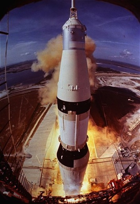 In this July 16, 1969 photo provided by NASA, the Saturn V rocket that launched Neil Armstrong, Buzz Aldrin and Michael Collins on their Apollo 11 moon mission lifts off at Cape Kennedy, Fla. For more than four decades, the powerful engines that helped boost the Apollo 11 mission to the moon have rested in the Atlantic. Now Internet billionaire and space enthusiast Jeff Bezos, CEO of Amazon.com, wants to raise at least one of them to the surface. (AP Photo/NASA)