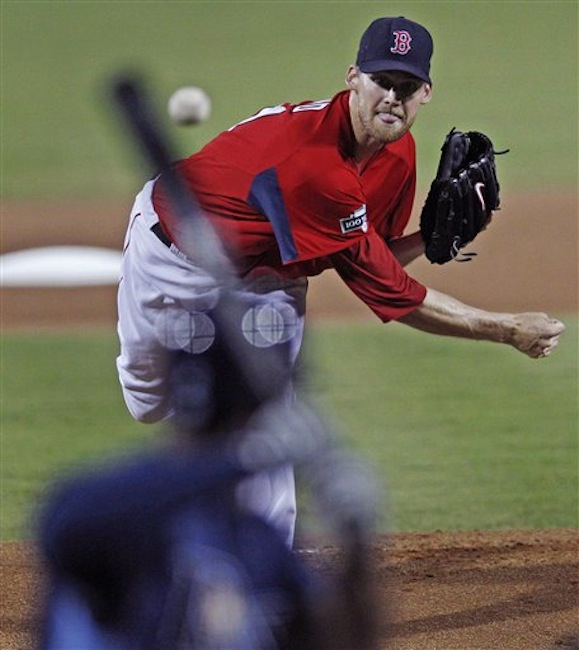 Boston Red Sox starter Daniel Bard delivers against the Tampa Bay Rays during the first inning of a spring training baseball game in Fort Myers, Fla. on Saturday, March 10, 2012. (AP Photo/Charles Krupa)