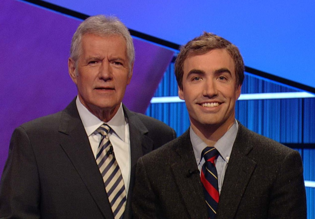 Ben Parks-Stamm, of Winthrop, right, is seen with Alex Trebek, the host of the Jeopardy! quiz show. Parks-Stamm, apple farmer who graduated from Princeton University, competes in a show that airs Tuesday at 7:30 p.m. on WMTW-TV Channel 8.