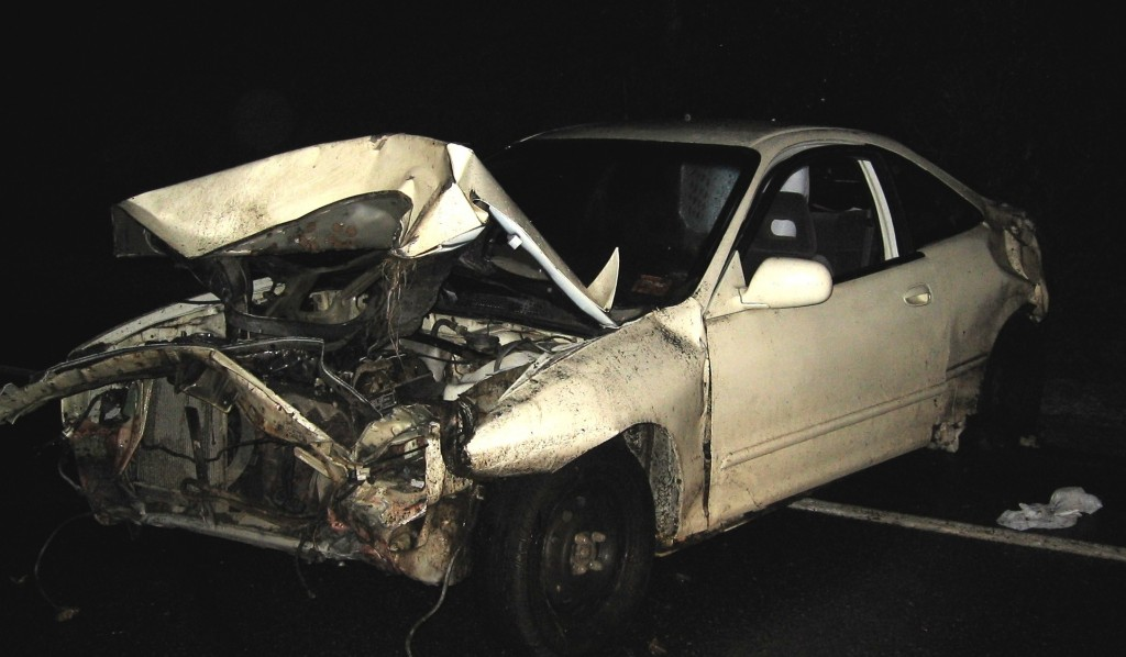 Police released this photo of the car Lucas Creamer was driving after allegedly speeding away from authorities and crashing.