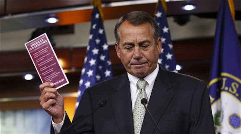 House Speaker John Boehner of Ohio talks to reporters about jobs, the highway bill, and politics during a new conference on Capitol Hill in Washington on Thursday, March 8, 2012. (AP Photo/J. Scott Applewhite)
