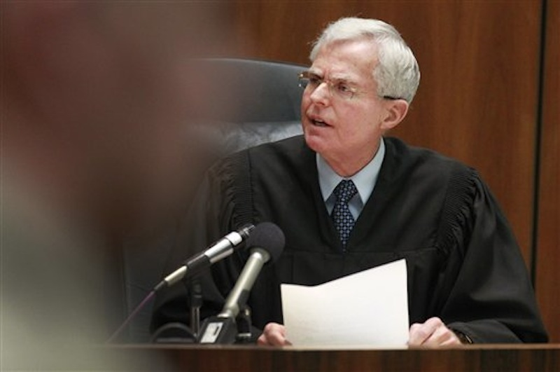 Judge Robert Perry thanks jurors for their work in case against former Los Angeles police detective Stephanie Lazarus, who was found guilty of first degree murder for the 1986 killing of the wife of her former lover in Los Angeles Superior Court on Thursday, March 8, 2012. (AP Photo/Los Angeles Times)