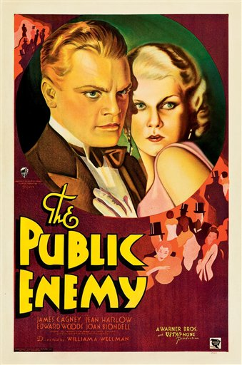 "Pposter for the 1931 film ""The Public Enemy,"" featuring James Cagney."