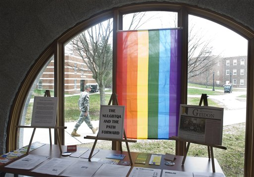 Norwich University's Lesbian, Gay, Bisexual, Transgender, Questioning, and Allies Club set up this display in the library for guests and students to learn more about their issues and programs.