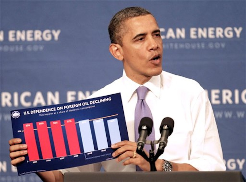President Barack Obama holds up a chart as he speaks about his blueprint for an economy built to last with a focus on American energy, Thursday, March 1, 2012, at Nashua Community College, in Nashua, N.H. (AP Photo/Jim Cole)