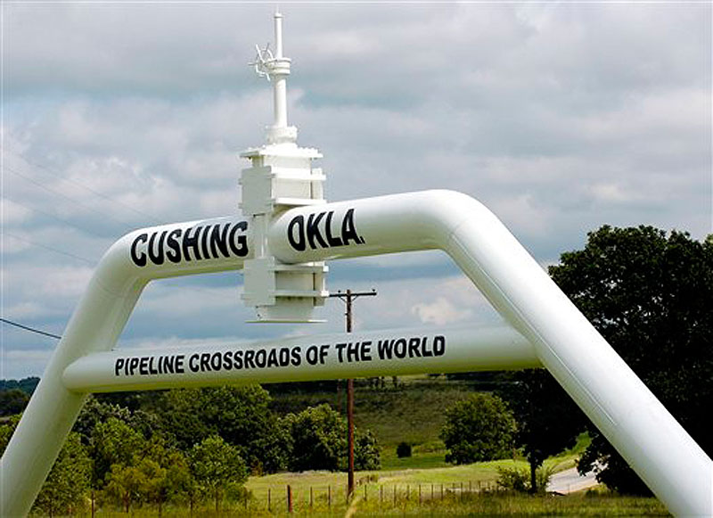 In this Sept. 15, 2005 file photo, the marker that welcomes commuters to Cushing, Okla. is seen. Canadian company TransCanada says it will build an oil pipeline from Oklahoma to Texas after President Barack Obama blocked the larger Keystone XL pipeline from Canada. The company says the new project does not require presidential approval since it does not cross a U.S. border. The shorter pipeline is expected to cost about $2.3 billion and be completed in 2013. The Obama administration had suggested development of an Oklahoma-to-Texas line to alleviate an oil glut at a Cushing, Okla., storage hub. (AP Photo/The Oklahoman, Matt Strasen, File)