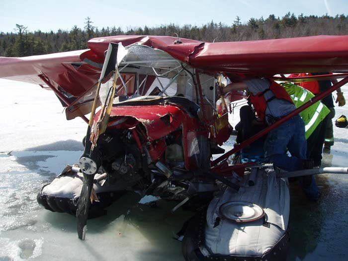 James Schaff's plane after it crashed into ice-covered Pleasant Lake on Saturday.