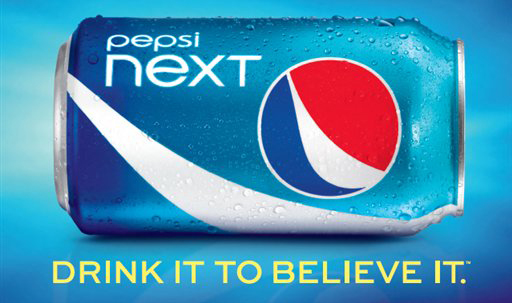 """A PepsiCo, advertisement for """"Pepsi Next,"""" a mid-calorie drink that has about half the calories of regular Pepsi at 60 calories per can."""