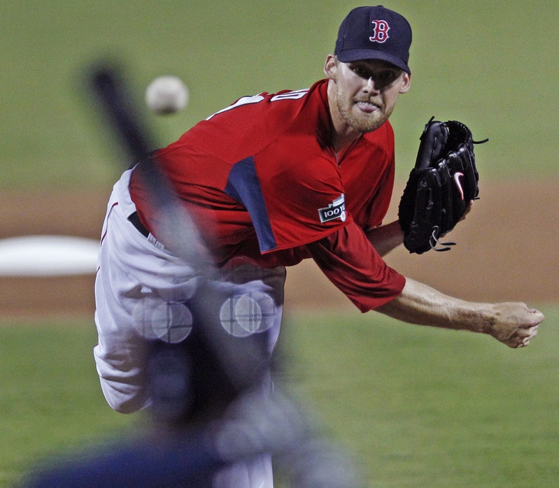 """Boston Red Sox starter Daniel Bard delivers against the Tampa Bay Rays on March 10. Bard's numbers on Sunday weren't great, but, he said, """"Today was the first game that I can actually say I felt like a starting pitcher out there."""""""