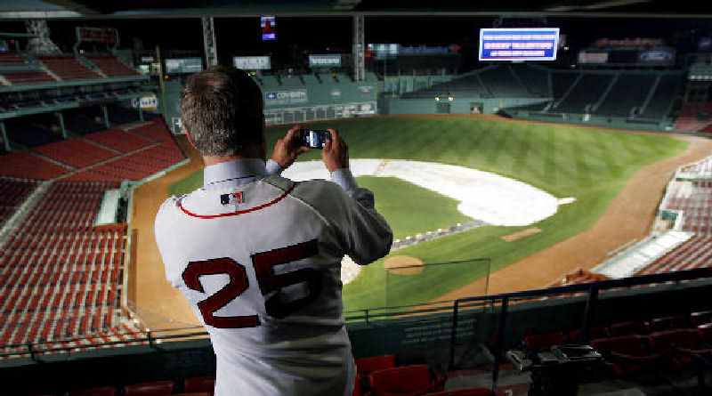 Boston Red Sox manager Bobby Valentine raises his cell phone to take a picture of Fenway Park in this Decemeber 2011 photo.