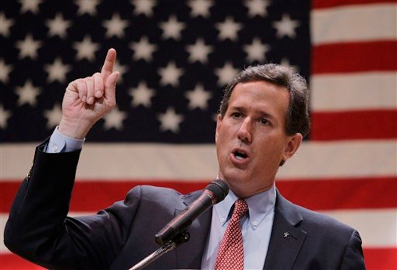 Republican presidential candidate Rick Santorum speaks during a campaign stop at the Lake County Republican Party Lincoln Day Dinner, Friday, March 2, 2012, in Willoghby, Ohio. (AP Photo/Eric Gay)