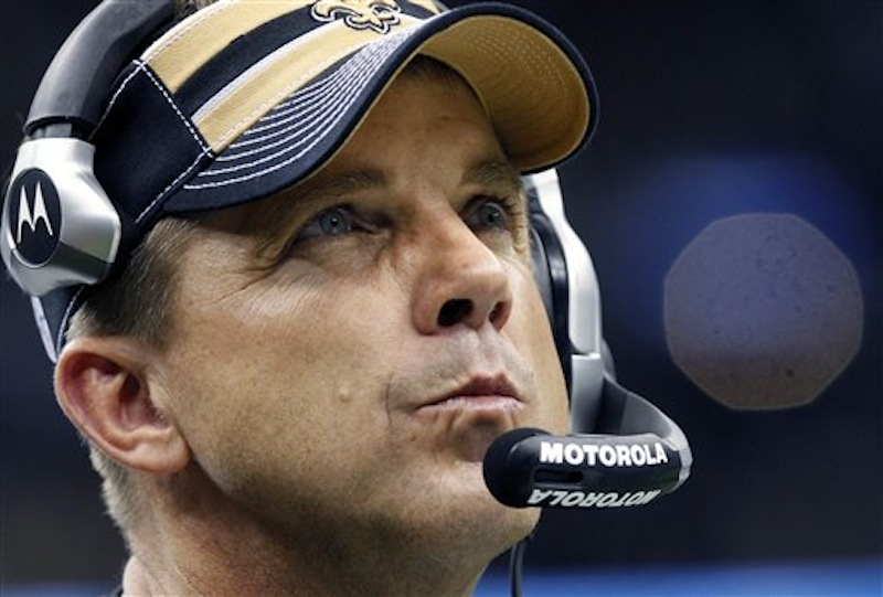 This Dec. 26, 2011 photo shows New Orleans Saints head coach Sean Payton in the fourth quarter of an NFLgame against the Atlanta Falcons. Payton is appealing his year-long suspension from the NFL due to his role in the Saints' bounty program. (AP Photo/Rusty Costanza)