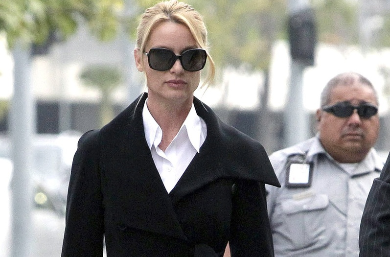 Nicollette Sheridan arrives at court in Los Angeles last week. A judge declared a mistrial in her case Monday.
