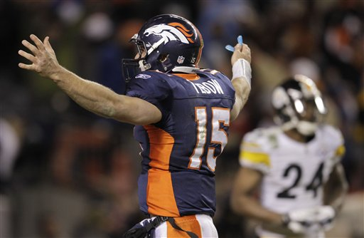 Denver Broncos quarterback Tim Tebow (15) reacts after throwing an 80-yard touchdown pass to wide receiver Demaryius Thomas (88) for the game winning touchdown against the Pittsburgh Steelers in overtime of an NFL wild card playoff football game Sunday, Jan. 8, 2012. The NFL has changed its regular-season overtime rules to match its postseason overtime rules. (AP Photo/Joe Mahoney)