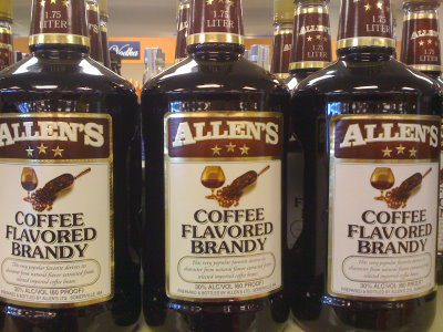 Four different sizes of Allen's Coffee Flavored Brandy finished in the Top 10 brands of liquor sold in Maine in 2011.
