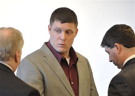 Jeremy Gardner of Bridgton listens to his attorney, Bob Launie, left, during a hearing in Middlesex Superior Court in Woburn, Mass. Gardner is scheduled to be sentenced today after pleading guilty to vehicular homicide in the death of Massachusetts state highway engineer Gregory Vilidnitsky in 2010.