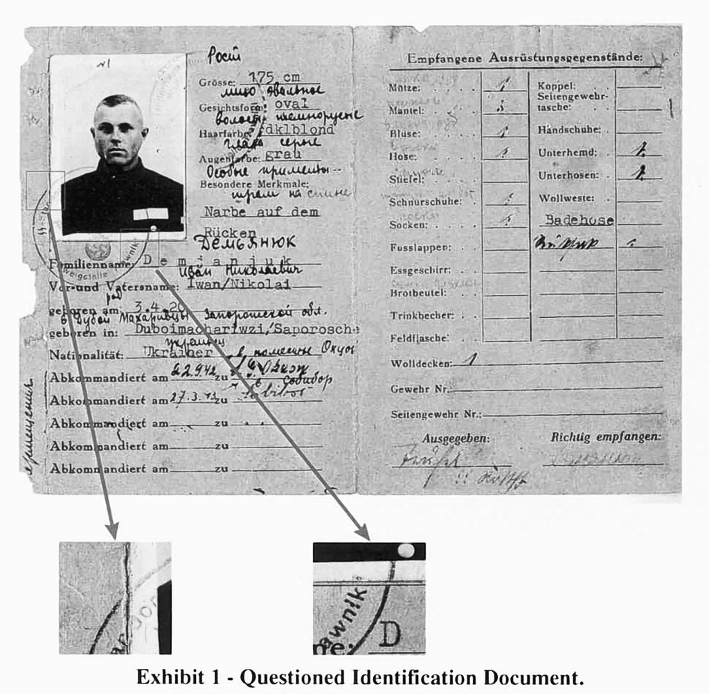 A World War II-era military service pass for John Demjanjuk is seen in this exhibit released by the Department of Justice in Washington, Thursday, Feb. 21, 2002. (AP Photo/Department of Justice, HO)