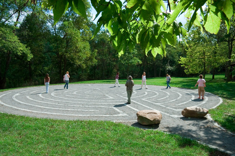 Designed to have a single path in and out, labyrinths create opportunities for reflection. This one is located at Allegany College of Maryland in Cumberland, Md.