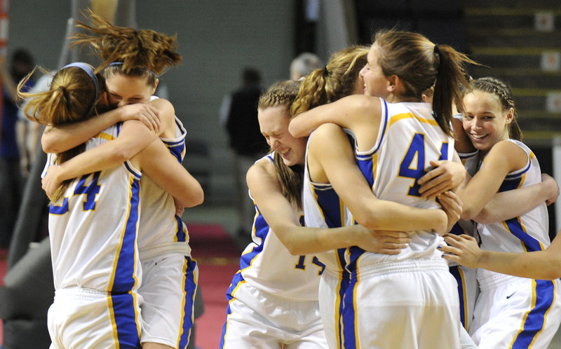 The Lake Region girls certainly had reason to celebrate last Saturday after beating Greely to capture the Western Class B championship. The Lakers are looking for one more celebration, but need to beat Presque Isle tonight at the Bangor Auditorium.