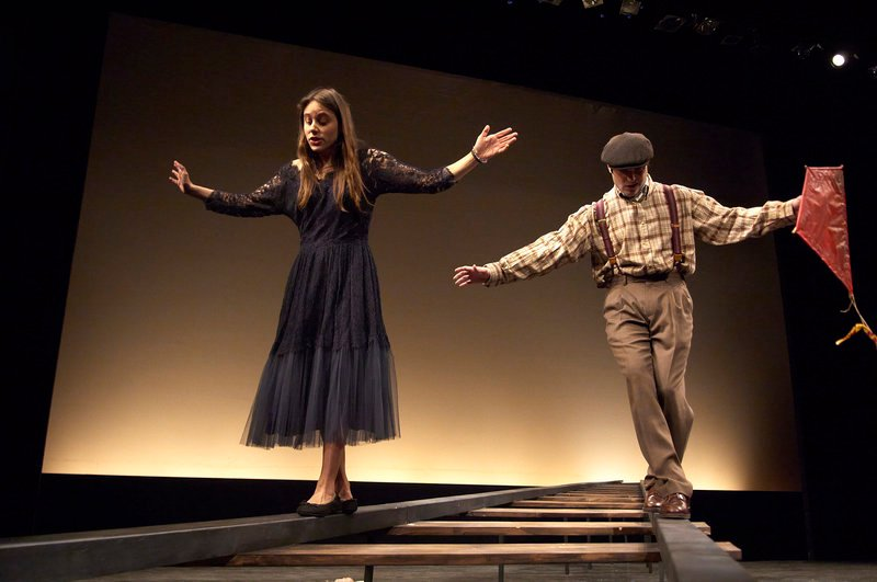 "Sarah Lord and Justin Adams walk the railroad tracks in a scene from ""This Property is Condemned,"" one of the one-act plays featured in Portland Stage Company's new production, ""Hidden Tennessee,"" by Tennessee Williams."