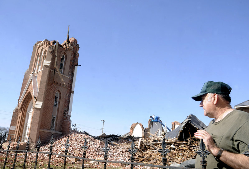 A severe storm spawned by a late-winter system demolished the St. Joseph's Catholic Church in Ridgway, Ill., early Wednesday morning. The system moved across six states.