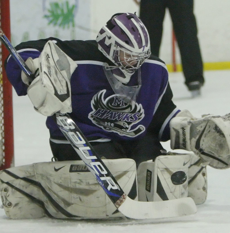 Kyle Hichens, the goalie for Marshwood-Traip Academy, made 38 saves to help preserve the victory. The Hawks will meet top-ranked Thornton Academy in the semifinals.