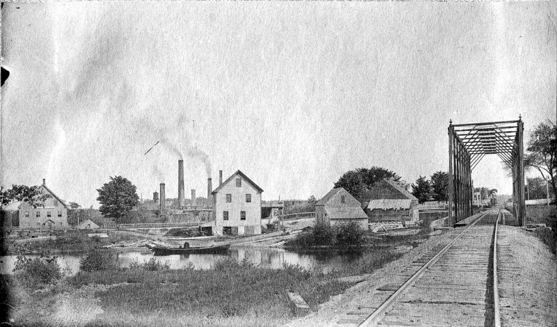 Fourth Falls along the Royal River in Yarmouth, circa 1890. Paper mill worker Maren Madsen Christensen wrote that, upon returning from her native Denmark, she crossed the perilous train trestle at right on her hands and knees, eager to see friends.