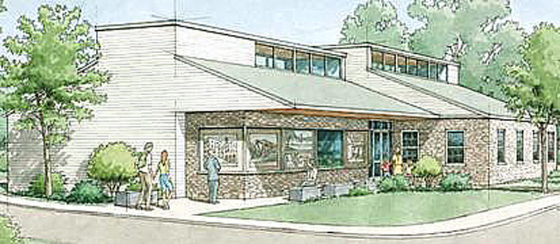 An architect's rendering shows the planned design of the new Yarmouth History Center on East Elm Street.