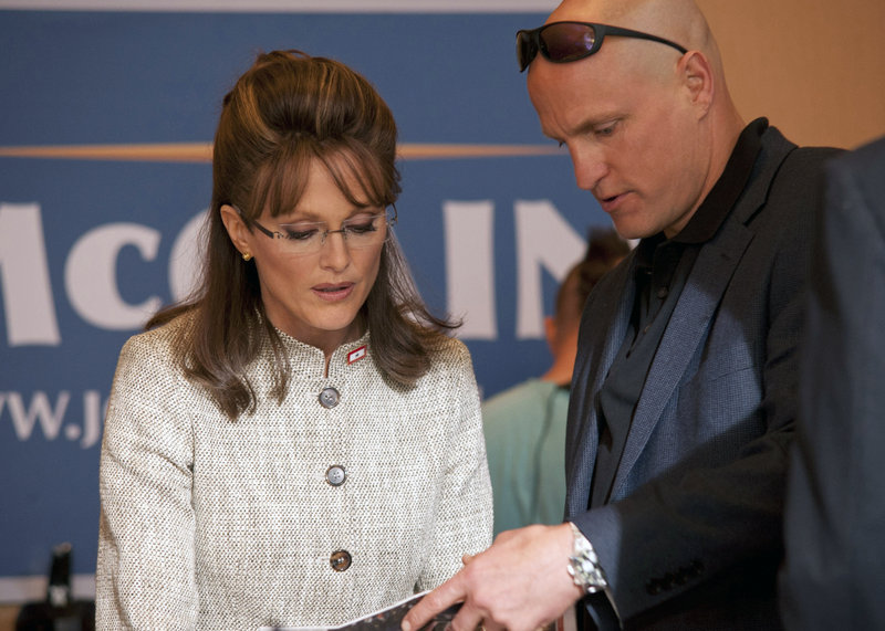 "Julianne Moore portrays Sarah Palin and Woody Harrelson plays Sen. John McCain's campaign strategist, Steve Schmidt, in ""Game Change,"" an HBO film about Palin and the 2008 presidential race."