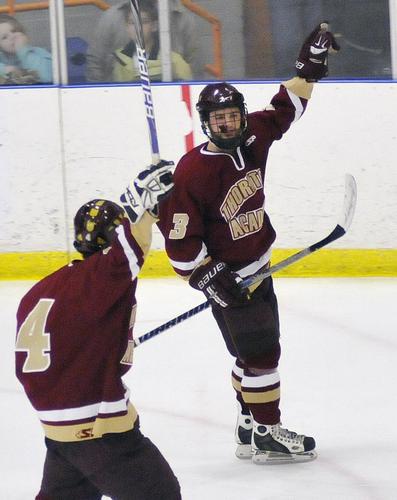 C.J. Maksut ended his high school hockey career in style, scoring three goals in Thornton Academy's 5-1 win over St. Dom's for the Class A championship.