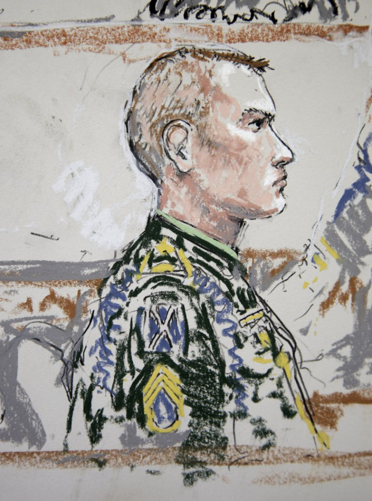 Army Staff Sgt. Calvin Gibbs is shown in this courtroom sketch at Joint Base Lewis-McChord during his court-martial for killing three Afghan civilians. He was convicted and sentenced to life in prison.