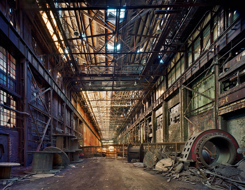 """Andrew Moore's """"Rolling Hall, Ford Motor Company, River Rouge Complex, Dearborn"""" from """"Rediscoveries 2: New Perspectives on the Permanent Collection""""."""