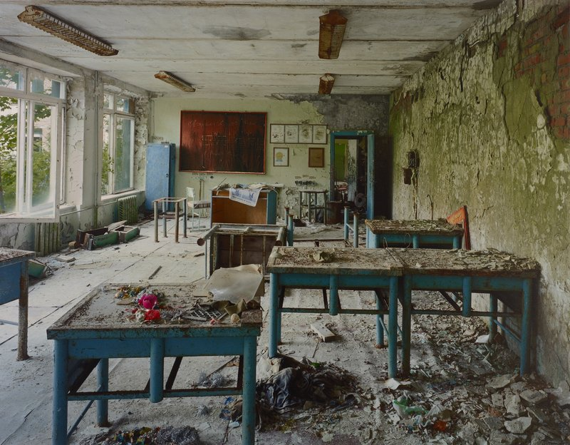 """Robert Polidori's """"Classroom in School #5, Pripyat"""" from """"Rediscoveries 2: New Perspectives on the Permanent Collection""""."""