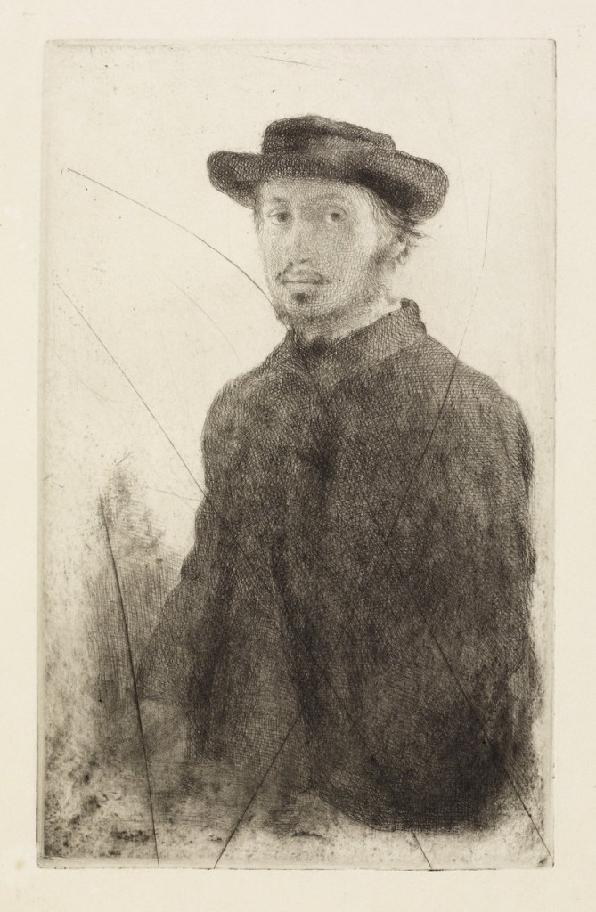 "... and ""Edgar Degas: Self Portrait,"" etching and drypoint from canceled plate, 1857."