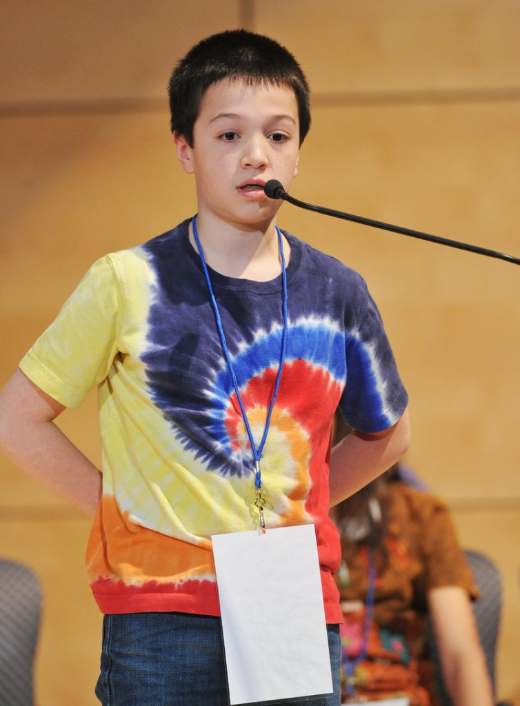 Brandon Aponte, a sixth-grader representing Hancock County, finished second in what turned out to be a marathon 50-round bee.