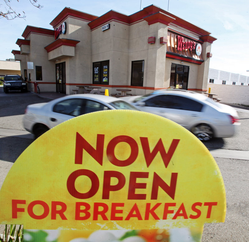 A sign promotes breakfast at a Wendy's restaurant in Culver City, Calif.