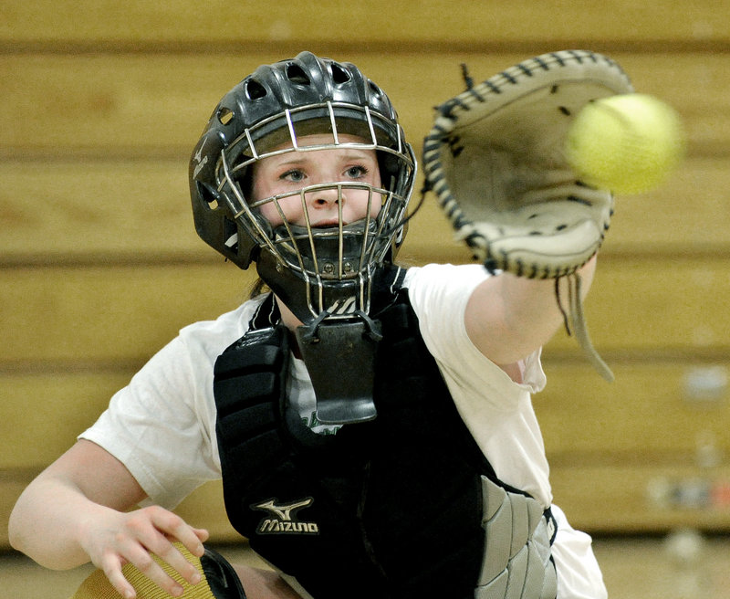 """Megan Murrell of Scarborough, one of two catchers replacing Abby Rutt, said, """"I think this is going to be a great week to get to know how each (pitcher) likes to throw their pitches.''"""