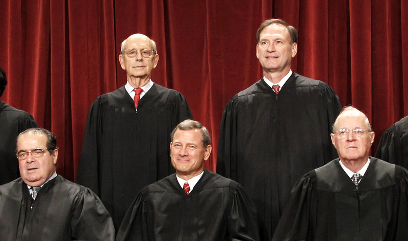 Four Republican-appointed Supreme Court justices, front row from left, Antonin Scalia, Chief Justice John Roberts, Anthony M. Kennedy and top right, Samuel Alito Jr., control the fate of President Barack Obama's health care overhaul. At top left is Justice Stephen Breyer.