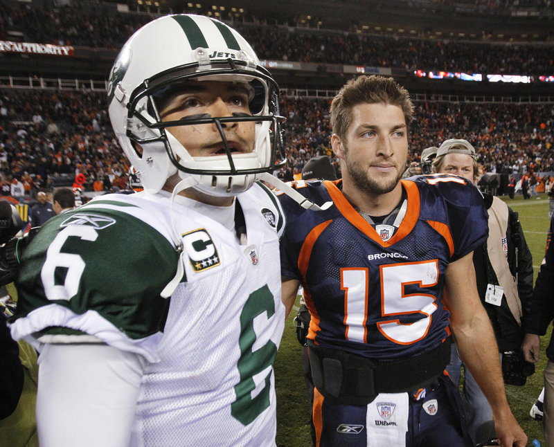 QB Mark Sanchez, left, was Tim Tebow's opponent last November, but they will be teammates this year as the Jets and Broncos swung a deal Wednesday.