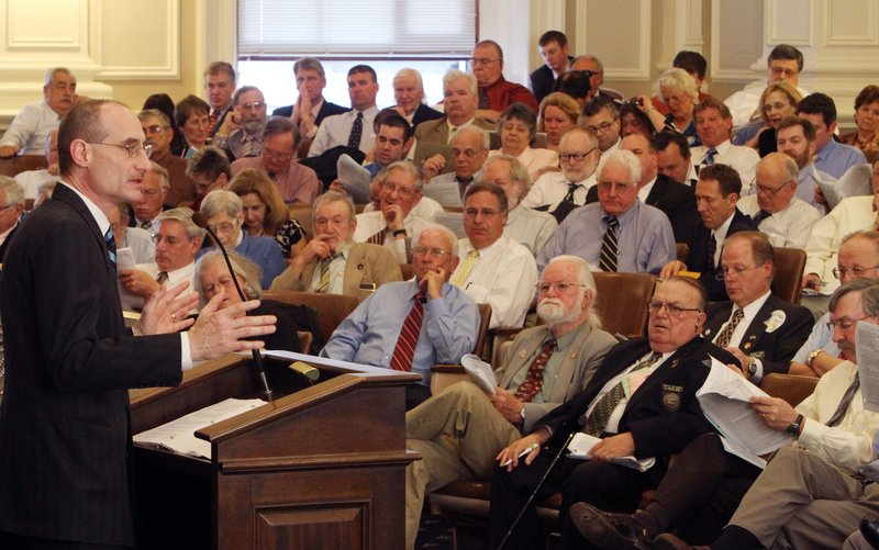 State Rep. David Bates, R-Windham, talks about his bill to repeal New Hampshire's gay marriage law at the statehouse in Concord on Wednesday. The state House voted 211-116 to kill the measure and preserve same-sex marriage.