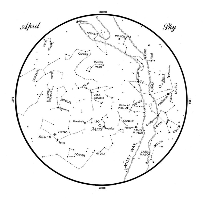 SKY GUIDE: This chart represents the sky as it appears over Maine during April. The stars are shown as they appear at 10:30 p.m. early in the month, at 9:30 p.m. at mid-month and at 8:30 p.m. at month's end. Saturn, Mars and Venus are shown in their mid-month positions. To use the map, hold it vertically and turn it so that the direction you are facing is at the bottom.
