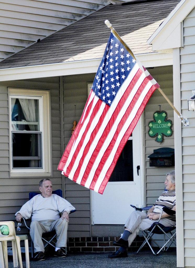 David and Joan Tobin, lifelong residents of the Little Falls-South Windham community relax outside their home on Route 202 in South Windham.