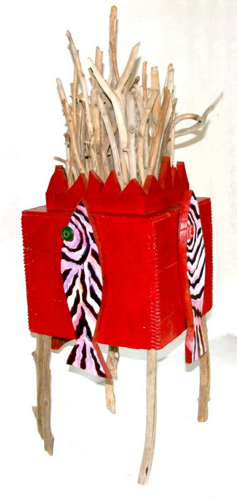 """""""Red Walking Fish House"""" by Carol Bass."""