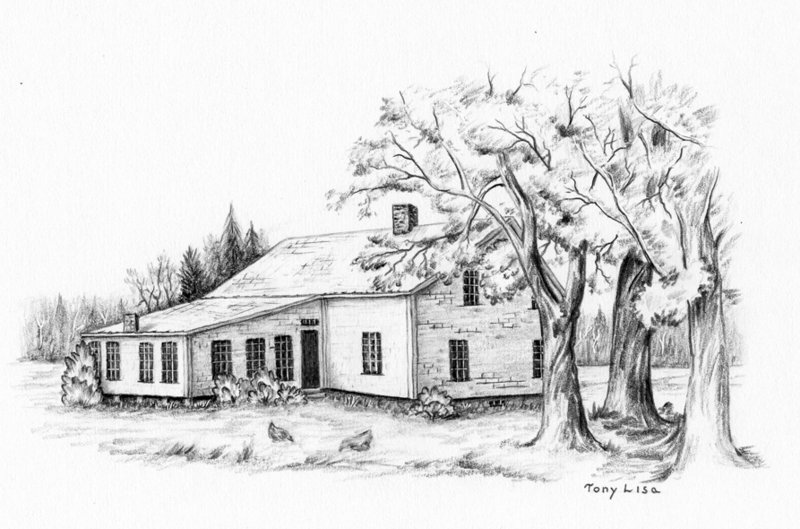 This drawing is an interpretation by current Cumberland resident Tony Lisa of one of the early town farms. Proposals sent out by the Cumberland Overseers of the Poor in 1841 provided building specifics.