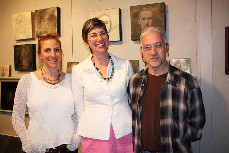 Shoshannah White in her studio with Jessica Tomlinson and Henry Wolyniec.